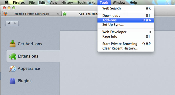 Disable Extensions Add-ons Firefox