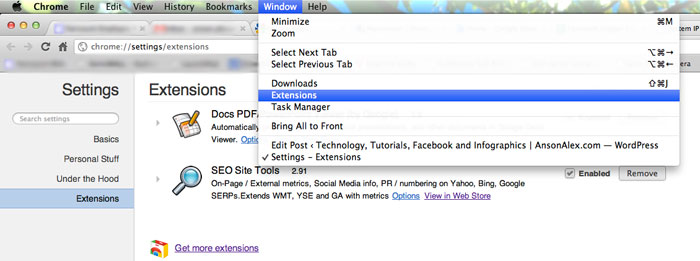 Disable Extensions in Google Chrome