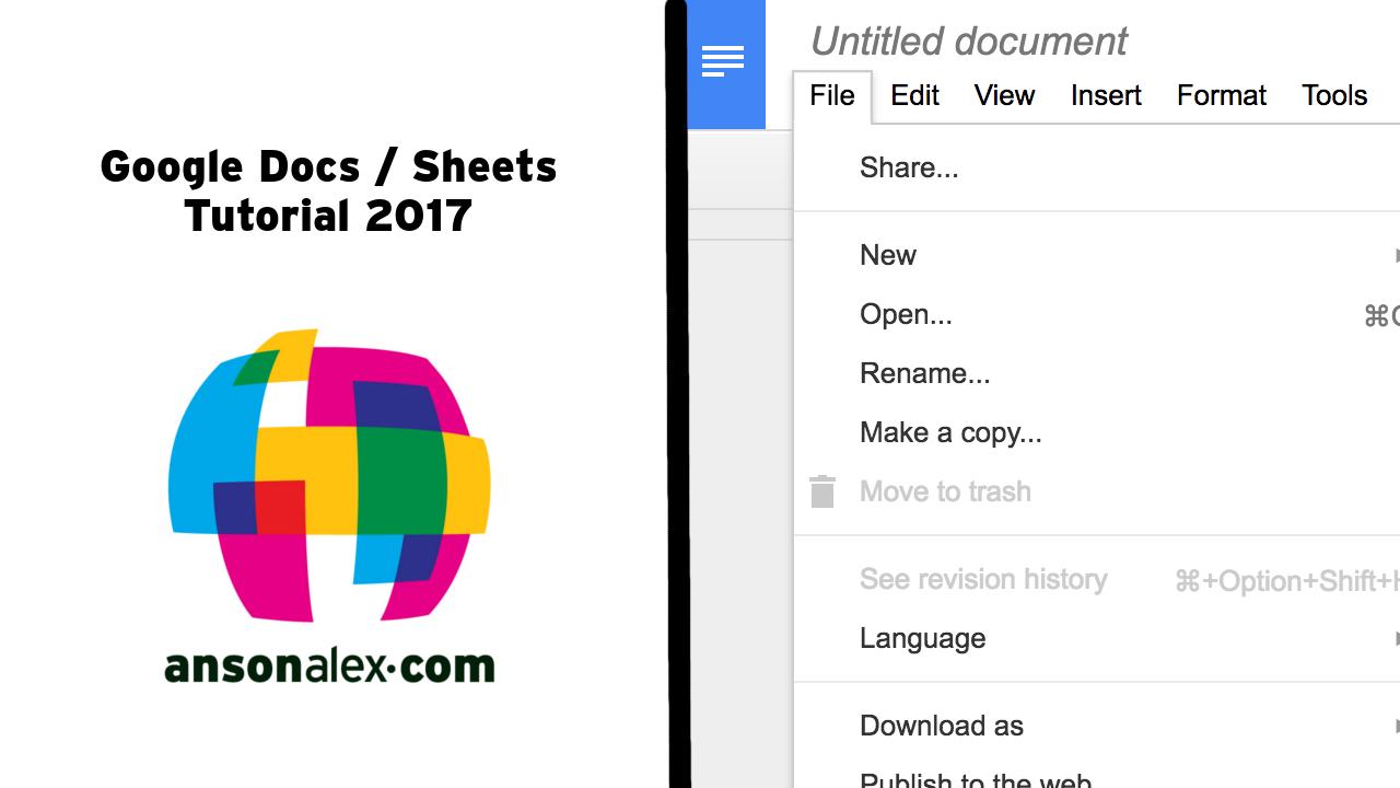 google docs and google sheets tutorial 2017. Black Bedroom Furniture Sets. Home Design Ideas