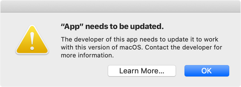 App Needs to be Updated macOS 10.15 Catalina